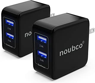 [2 Pack] Noubco Dual USB Wall Charger, 4.8A 24W Multi Port AC Charging Adapter with Foldable Plug for iPhone, iPad, Samsung Galaxy, HTC, Huawei, Xiaomi, BlackBerry, and More - Black
