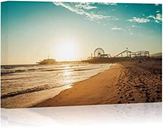 Actorstion Amusement Park in Santa Monica Canvas Wall Art,135752 Modern Home Decor Stretched and Framed Ready to Hang,24