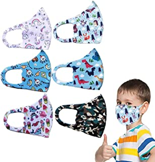 6 Packs Kids Reusable Face Bandanas Kawaii Washable 3 Ply Non-Woven Cartoon Pictures Anti Dust Mouth Cloths for Kids Children boys Girls for Camping Travel Vehicle Exhaust Passive Smoking