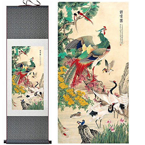 Sunmir (TM) Silk scroll painting Hundreds Birds Worshipping ThePhoenic Bird Figure
