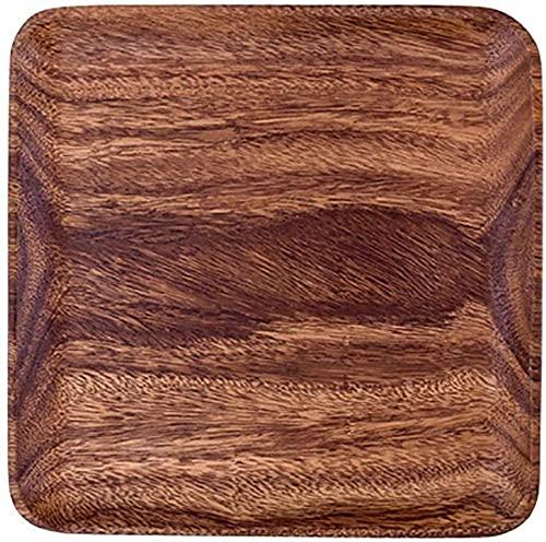 WBDZ Home Bandeja de Madera, Bandeja de bambú para Comer, Bandejas rectangulares para Servir Comida, Bandeja para desayunar y Servir Cena-Cuadrada 25x25x2cm