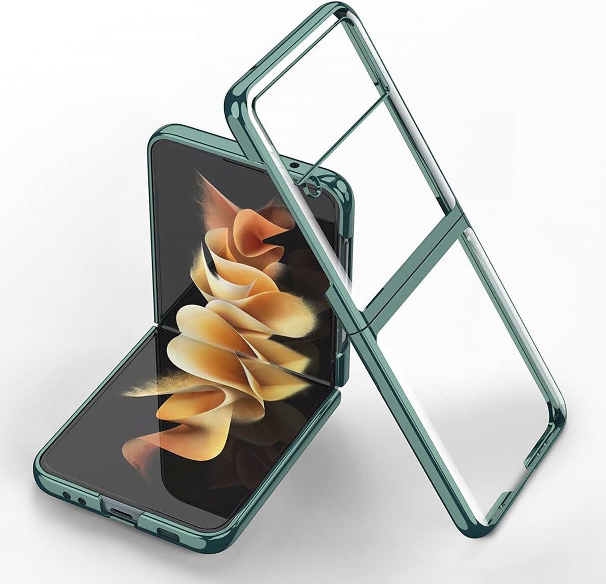 FUTURECASE Z Flip 3 Case, Galaxy Z Flip 3 Case, Samsung z Flip 3 Case, Clear Crystal Transparent Plating Case for Samsung Galaxy z Flip 3 5G ZFlip 3 ZFlip3 Z Flip3 Coque Funda Phone Cover(Green)