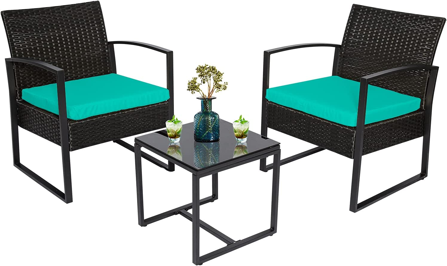 3 Piece Outdoor Patio Furniture Set Ranking TOP13 of Ranking TOP11 Table Glass Wicke with 2