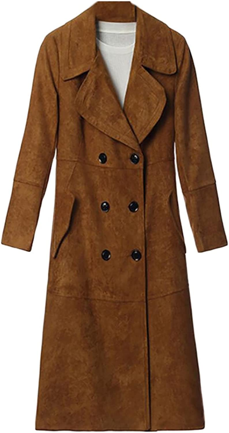 Gocgt Women Single Breasted Long Trench Suede Jacket