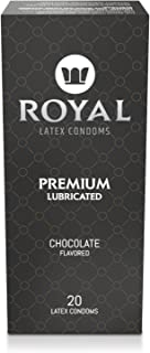 Royal Ultra-Thin Latex Condoms - Chocolate Flavored and Lubricated - Strong, Non-Toxic Latex - All Natural, Organic, Vegan, No Cruelty Contraceptive - Snug Fit, Accurate Sizing - 20 Pack