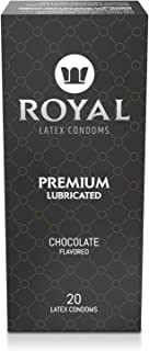 Royal Condoms, Ultra Thin Chocolate Flavored – Premium Lubricant, All Natural, Organic, Vegan, High Quality, Gluten Free, Nitrosamine Free, Non Toxic Latex, 20 Pack