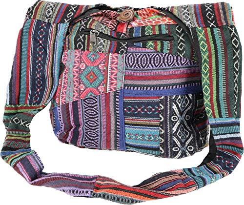 GURU SHOP Schultertasche, Hippie Tasche, Goa Patchwork Schulterbeutel, Herren/Damen, Mehrfarbig, Baumwolle, Size:One Size, 30x30x8 cm, Alternative Umhängetasche, Handtasche aus Stoff