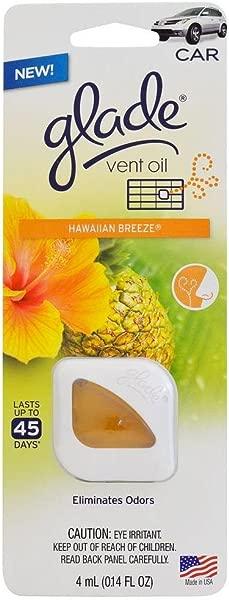 2x Glade Vent Oil Car Ac And Home Air Freshener Eliminate Odors Hawaiian Breeze