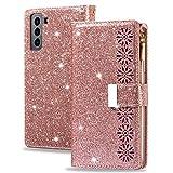 16Jessie Funda tipo cartera para Samsung Galaxy S21 Plus, con banda de piel de primera calidad, función atril, cierre magnético, funda de piel con purpurina