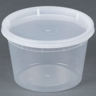 16 oz. Microwavable Translucent Plastic Deli Containers with Lids - Pkg of 24