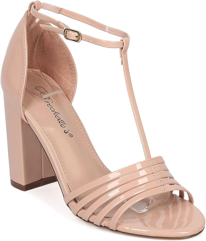 Women Patent Leatherette Open Toe T-Strap Block Heel Sandal HA17
