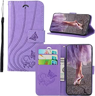 BestCatgift [Embossed Hearts & Butterfly PU Leather Flip Cover Wallet Phone Funda para iPhone 6S Plus/6 Plus with [Card Holder][Kickstand] - Light Purple
