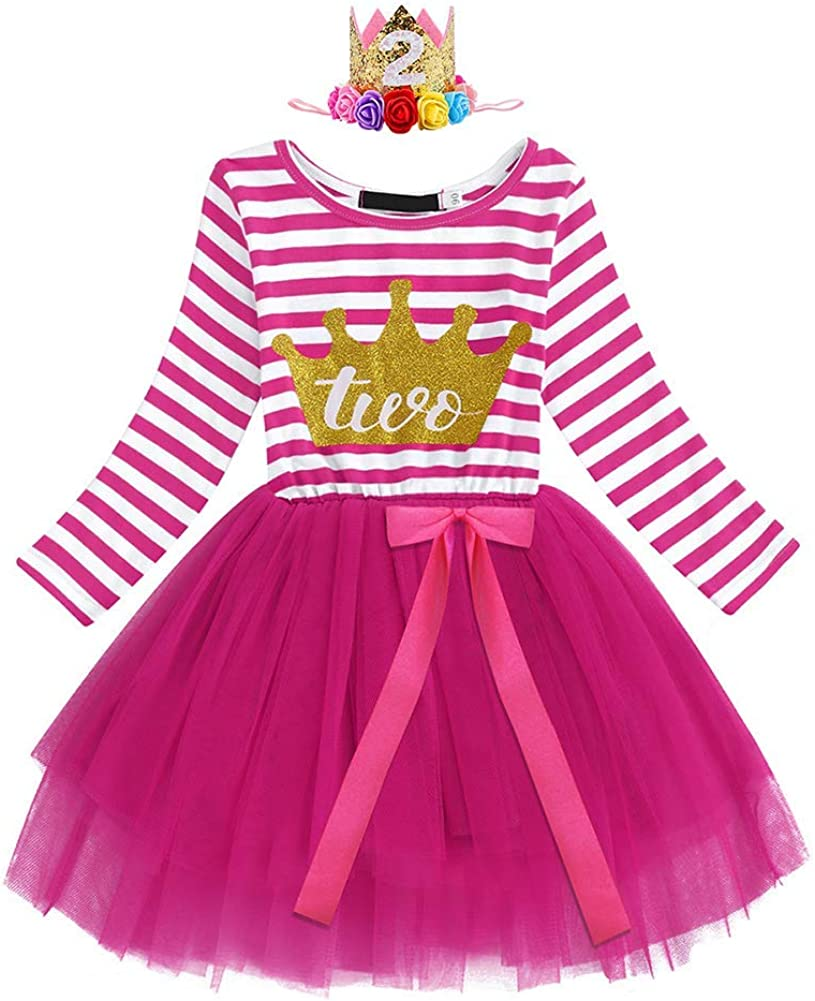 All stores are sold ODASDO Baby Classic Girls Birthday Dress Sleev Striped Long Toddler Kids