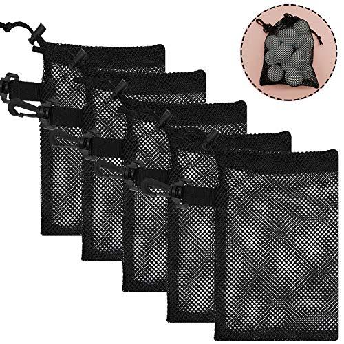 TOBWOLF 5 Stück Mesh Golfball Taschen, leicht und tragbar, Sport Aufbewahrungs Netzbeutel mit Schiebekordelzug, Kordelverschluss und Schlaufe für Golfball, Tennisball