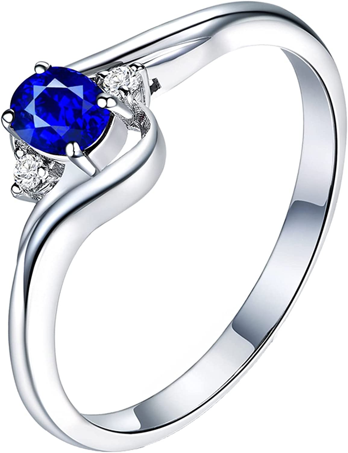 Epinki Women 18K White Gold Ring 0.3ct Max 87% OFF Sapphire with Detroit Mall Blue Oval W