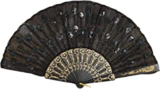 Iusun Handheld Folding Fans Peacock Element Lace Silk Chinease/Japanese Vintage Retro Style Gift Craft Dance Fan for Girls Women Birthday Wedding Party Graduation Events Decoration