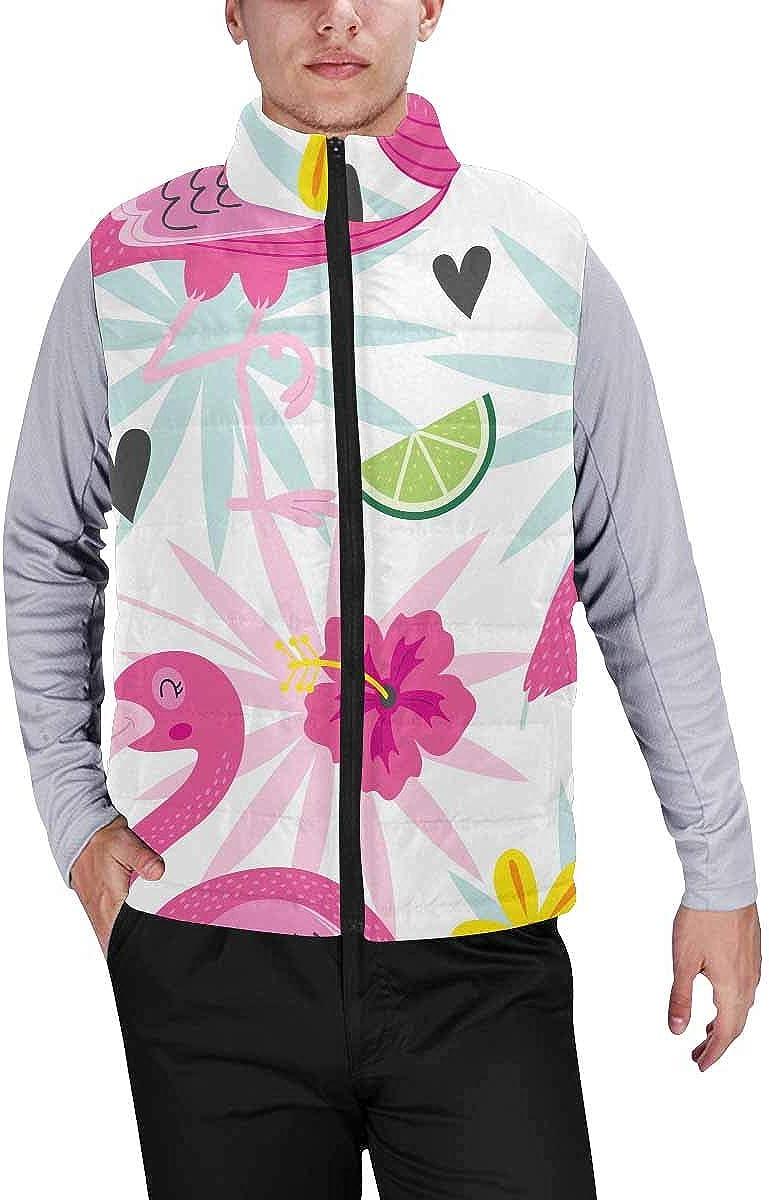 InterestPrint Winter Lightweight Personality Design Padded Vest for Men Pink Blossoming Cherry Blossm