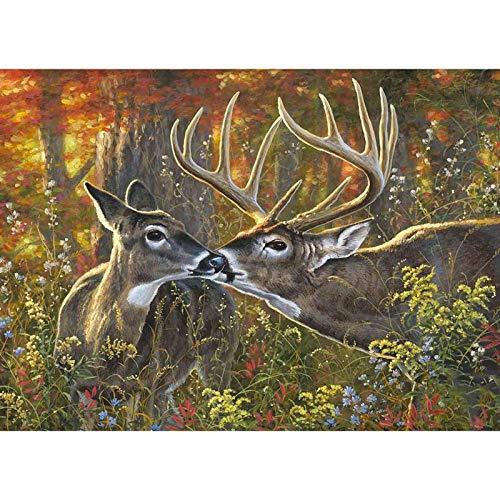 DPDP - Kit de pintura de diamante para adultos, niños, decoración de la habitación, ciervos de oficina en casa, 15.7 x 11.8 pulgadas