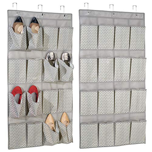mDesign Set of 2 Hanging Wardrobe Organiser - Hanging Closet Organisers with 16 Pockets Each - Ideal for Shoe Storage, Accessories Storage and More - Taupe/Natural