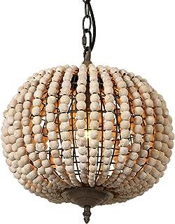 Newrays Wood Bead Chandelier Pendant Light Gray White Finishing Retro Vintage Antique Rustic Kitchen Ceiling Lamp Light Fi...