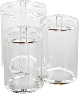 Clear Acrylic Cosmetic Organizer with Lids for Cotton Ball and Swab Make up Wipes Pads for Bathroom Accessories Container
