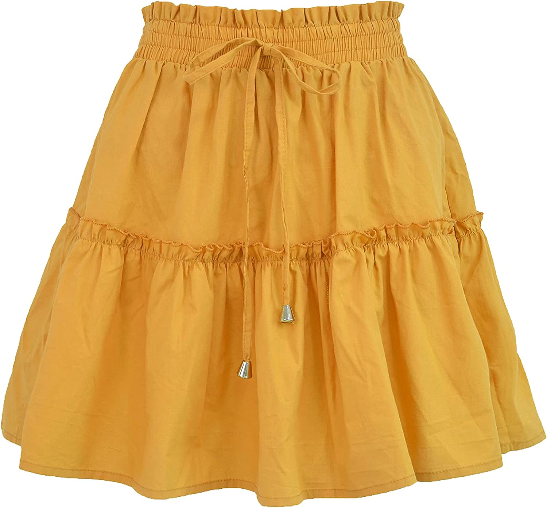 QZH.DUAO A Line Ruffle Flared Boho Skirt for Women