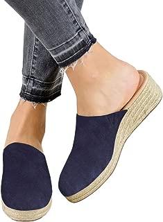 Womens Slip on Espadrille Wedges Closed Toe Backless Mule Cute Summer Slide Sandals (10 M US, Navy)