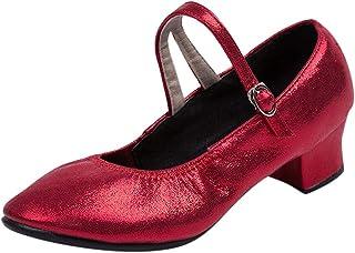 Celucke Sandalette Jazzschuhe Damen Standard Tanzschuhe Flamenco Pumps Prinzessinnen Dance Schuhe Trainingsschuhe Mittelhohe Weiche Sohle für Latein Salsa Tango Celucke