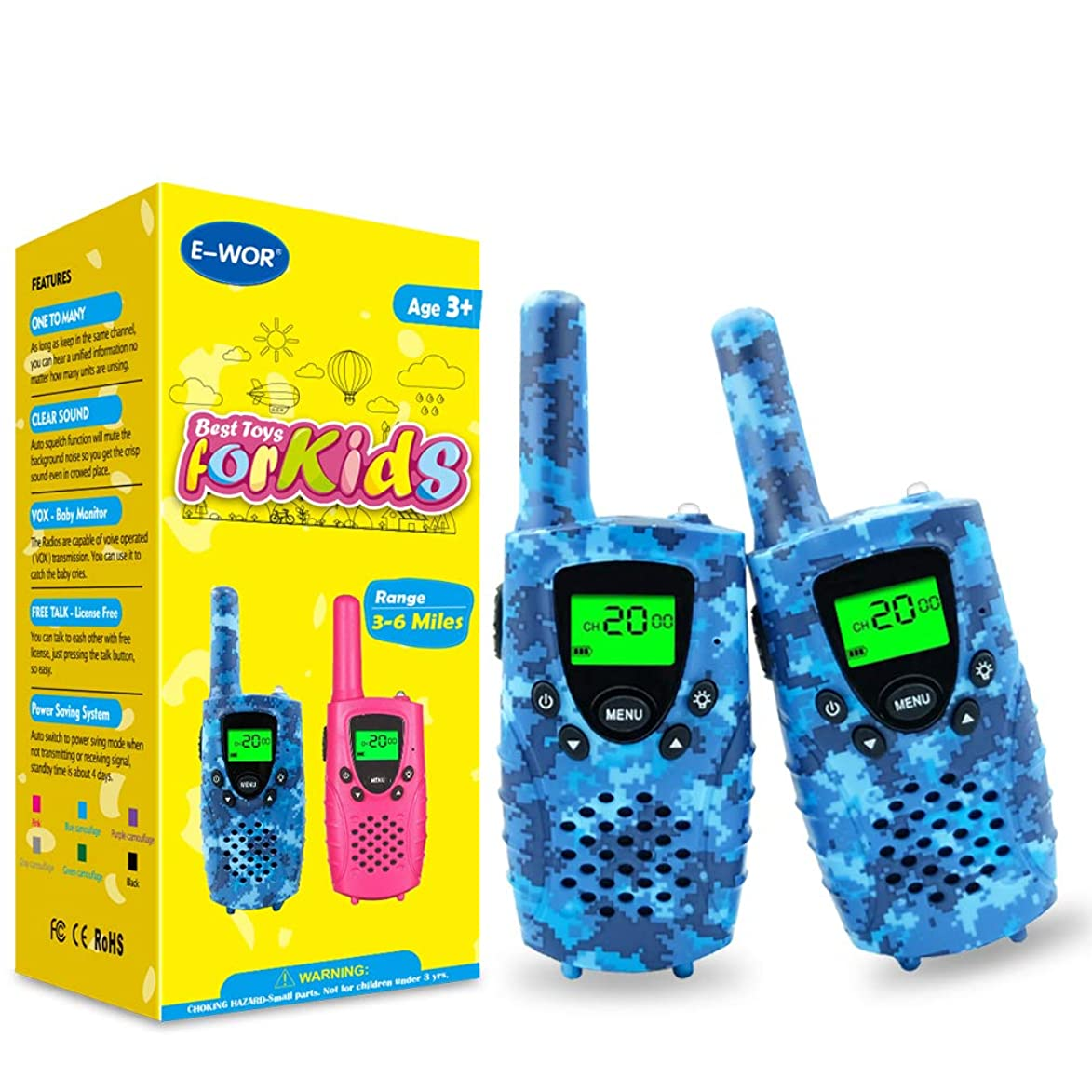 Walkie Talkies for Kids,22 Channels FRS/GMRS UHF Kids Walkie Talkies, 2 Way Radios 4 Miles Walkie Talkies Kids Toys with Flashlight by EWOR, 1 Pair,Camo (Camo Blue)