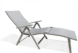 Kozyard Cozy Aluminum Beach Yard Pool Folding Reclining Adjustable Chaise Lounge Chair (1 Pack, Gray)