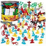 Cowboys & Indians Wild West Figure Playset, 108 pieces with 16 Different Poses & 8 Unique Sculpts, Fun Toy Gift for Kids