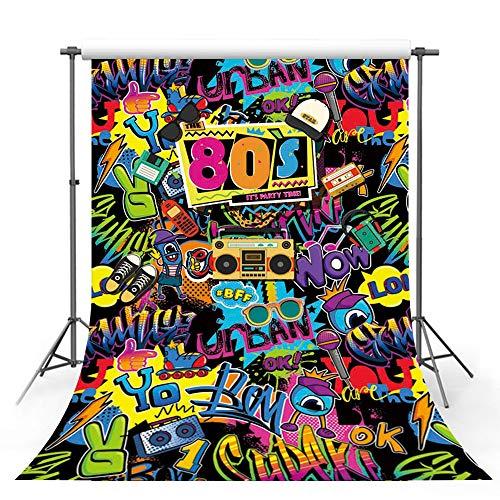 MEHOFOTO Hip Hop Back to 80s Temed Adulto Cumpleaños Fiesta Decoraciones Banner Estudio Foto Booth Fondo Retro Graffiti Discoteca Retrato Telón de fondo Props para Fotografía 1.5x2.1 m