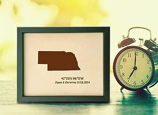 Lik343 Leather Engraved Wedding Third Anniversary Omaha Nebraska map Longitude Latitude Personalized Gift Place Date Wedding