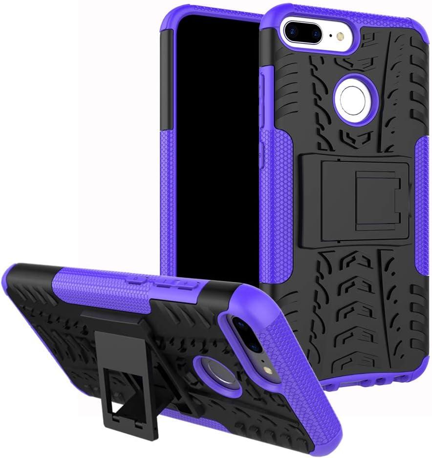MAMA MOUTH Honor 9 Lite Funda, Heavy Duty Silicona híbrida con Soporte Cáscara de Cubierta Protectora de Doble Capa Funda Caso para Huawei Honor 9 Lite Smartphone (with 4 in 1 Packaged),Púrpura