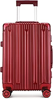 SMLCTY 20 Inch / 24 Inch Lightweight Suitcases,Aluminum Frame PC Waterproof and Shockproof TSA Customs Password Lock Mute 4 Wheel Travel Trolley Case (Color : Red, Size : 24 inch)