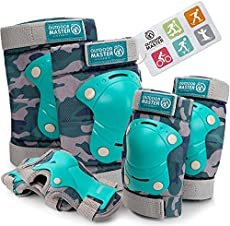 OutdoorMaster Kids/Youth Protective Gear - Knee Pads Elbow Pads Wrist Guard 6-in-1 Set for Bike, Roller Skating, Skateboard, Inline Skating, Hover Board,Penny Board - Camo - S