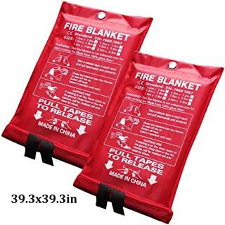 Fire Blanket Kitchen Fire Emergency Blanket Fiberglass Surival Safety Cover Flame Retardant Blanket for Kitchen Camping Fireplace Grill Ca (Color : White, Size : 39.3x39.3inch)