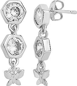 CZ Honeycomb & Butterfly Dangle Earrings