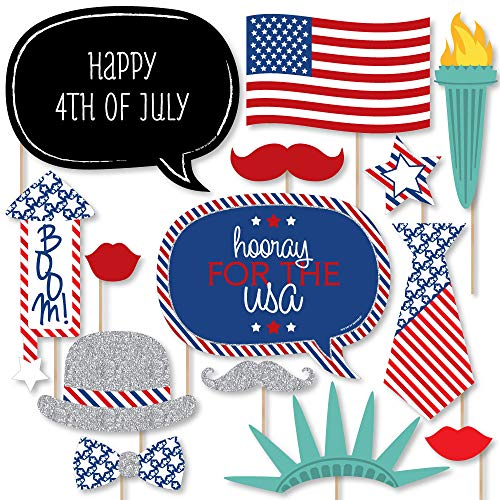 Big Dot of Happiness 4th of July  Photo Booth Props Kit  20 Count