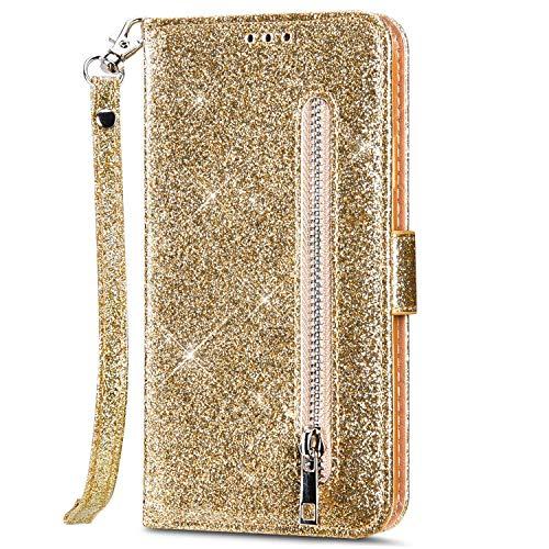 kompatibel mit Huawei P40 Hülle Glitzer Bling Ledertasche,PU Leder Magnet Klapphülle Geldbörse Handyhülle mit Kartenfächer Standfunktion Flip Case Handy Tasche,Gold