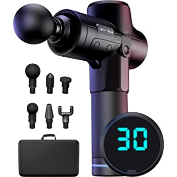 Bodytechnix Massage Gun for Athletes   Powerful & Quiet 30 Speed Deep Tissue Percussion Massager for Body   Silent Electric Handheld Fascia Tissue Massage for Sports   6 Hour Battery Life