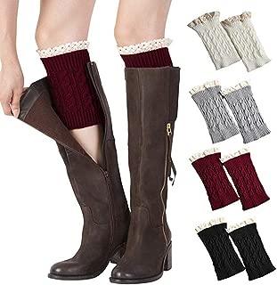 Xugq66 4 Pairs Women Winter Crochet Knitted Short Boot Cuffs Socks Short Leg Warmers