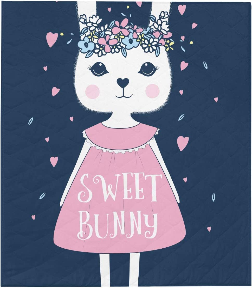 WIEDLKL Quilts and Throws Sweet Many popular brands Girl Dallas Mall Bunny Vector P Illustration