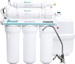 Ecosoft Système de filtration de l'eau à osmose inverse en 5 étapes et adoucisseur d'eau sous l'évier - Filtre blanc - Mem...
