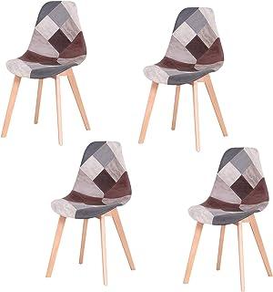 sweethome Silla de comedor tapizada con patas de madera duraderas para cocina, salón, cafetería, comedor, color gris