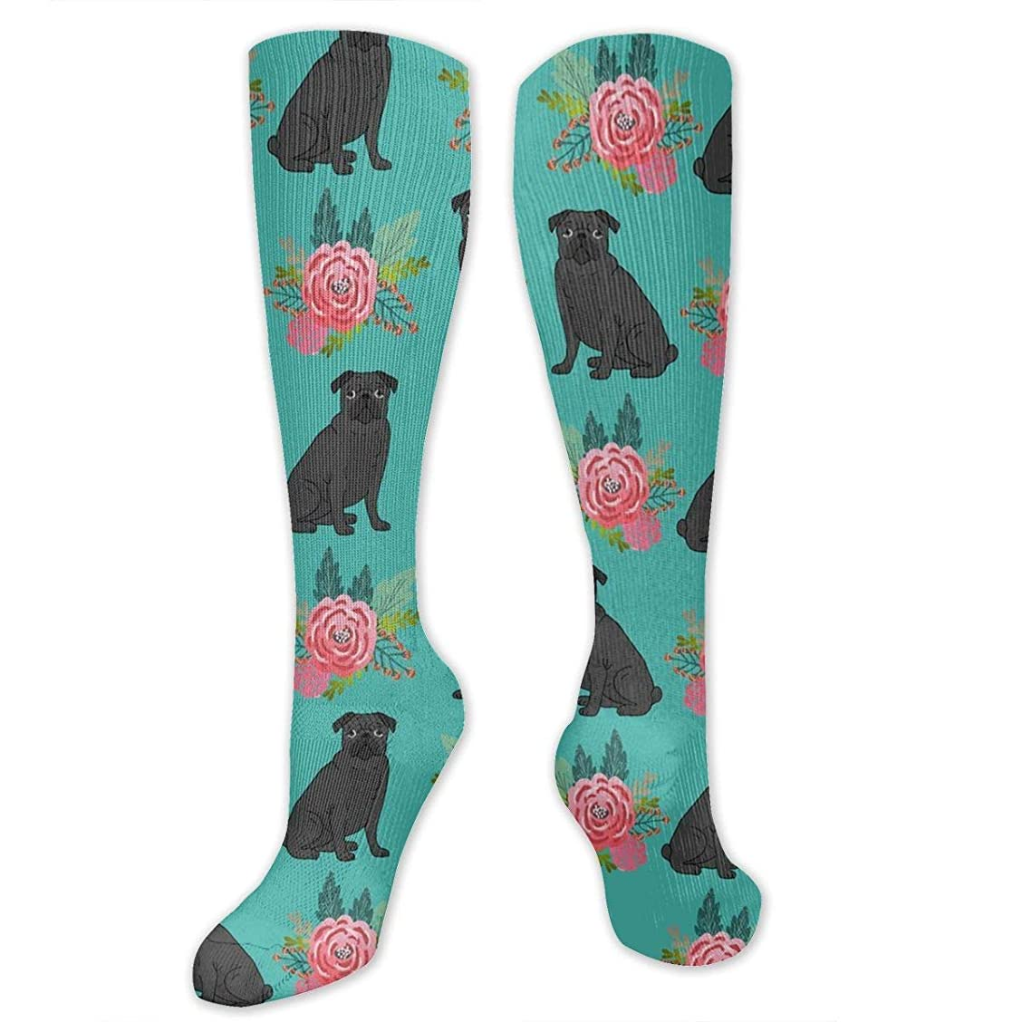赤外線サルベージ容赦ない靴下,ストッキング,野生のジョーカー,実際,秋の本質,冬必須,サマーウェア&RBXAA Black Pug Dog Floral Socks Women's Winter Cotton Long Tube Socks Cotton Solid & Patterned Dress Socks