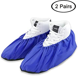 LINKEASE Reusable Boot & Shoe Covers Water Resistant Non Skid and Washable for Real Estate Contractors to Keep Floors Carpets Footwear and Rooms Clean - 2 Pairs (Medium, Blue)