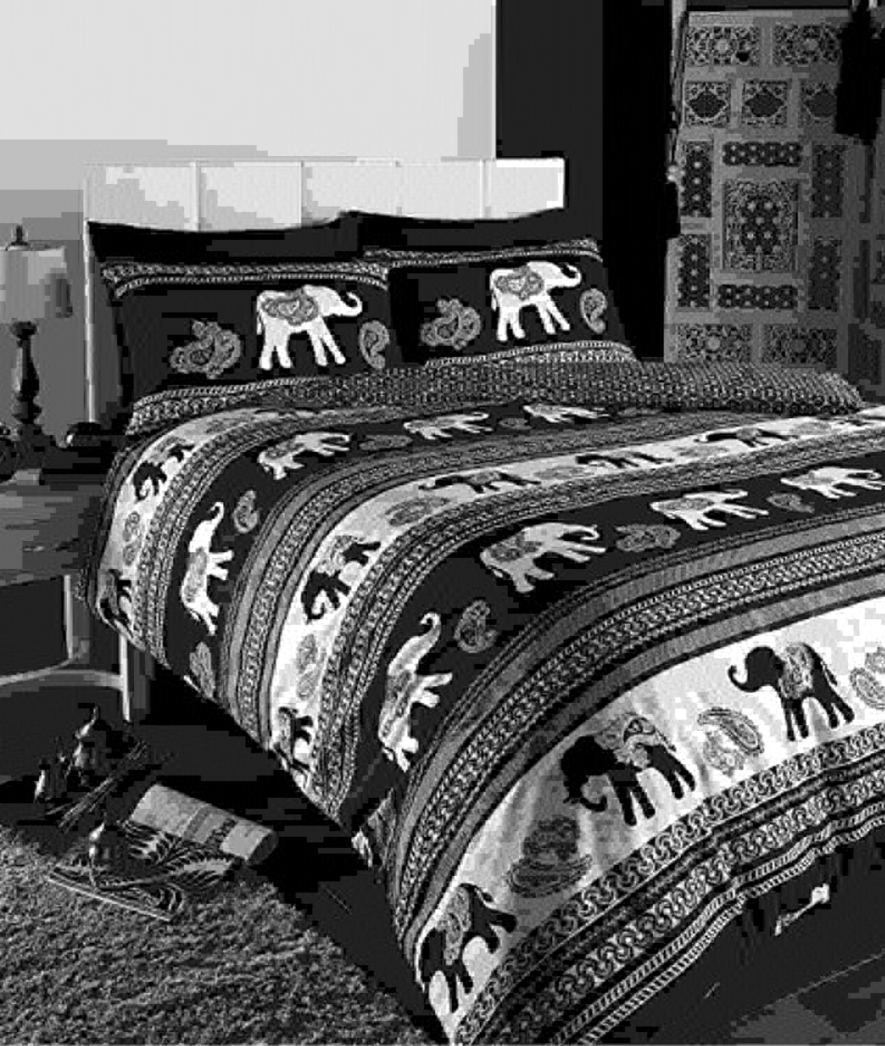 marca en liquidación de venta EMPIRE EMPIRE EMPIRE INDIAN ELEPHANT ANIMAL DOUBLE BED DUVET QUILT COVER BEDDING SET negro NEW by Century Mills  tienda en linea