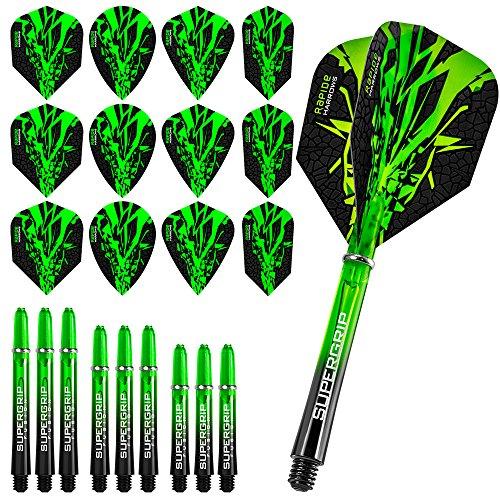 Kombi-Kit mit grünen Dart-Flügeln und Schäften, inklusive Kugelschreiber von Darts Corner Harrows Rapide Fusion X