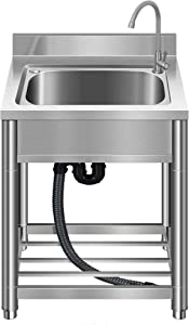 Free Standing Stainless-Steel Single Bowl Commercial Restaurant Kitchen Sink Set w/ Faucet, Prep & Utility Washing Hand Basin w/ Storage Shelve, laundry tub for Indoor Outdoor (22in)